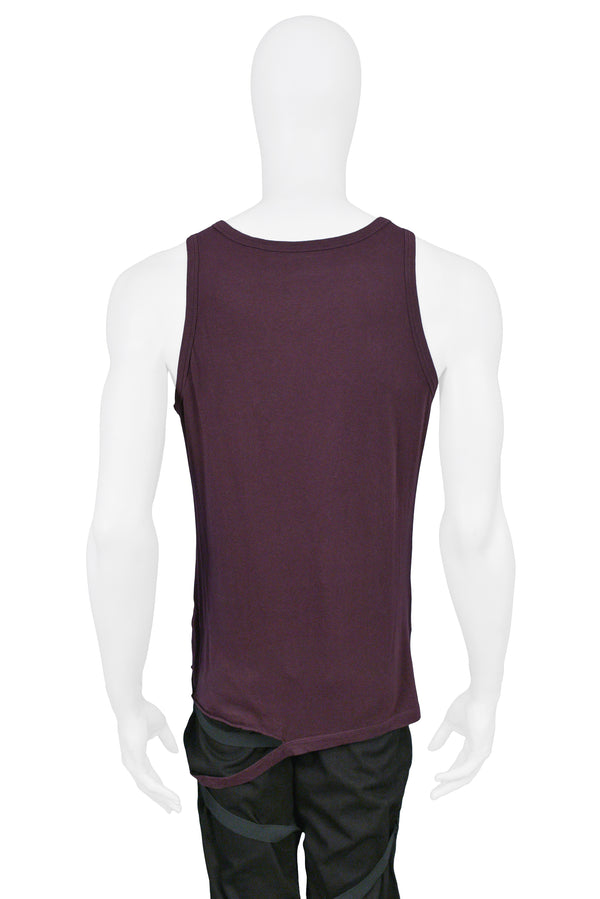 HELMUT LANG DARK PLUM TANK T-SHIRT WITH DETACHED HEM