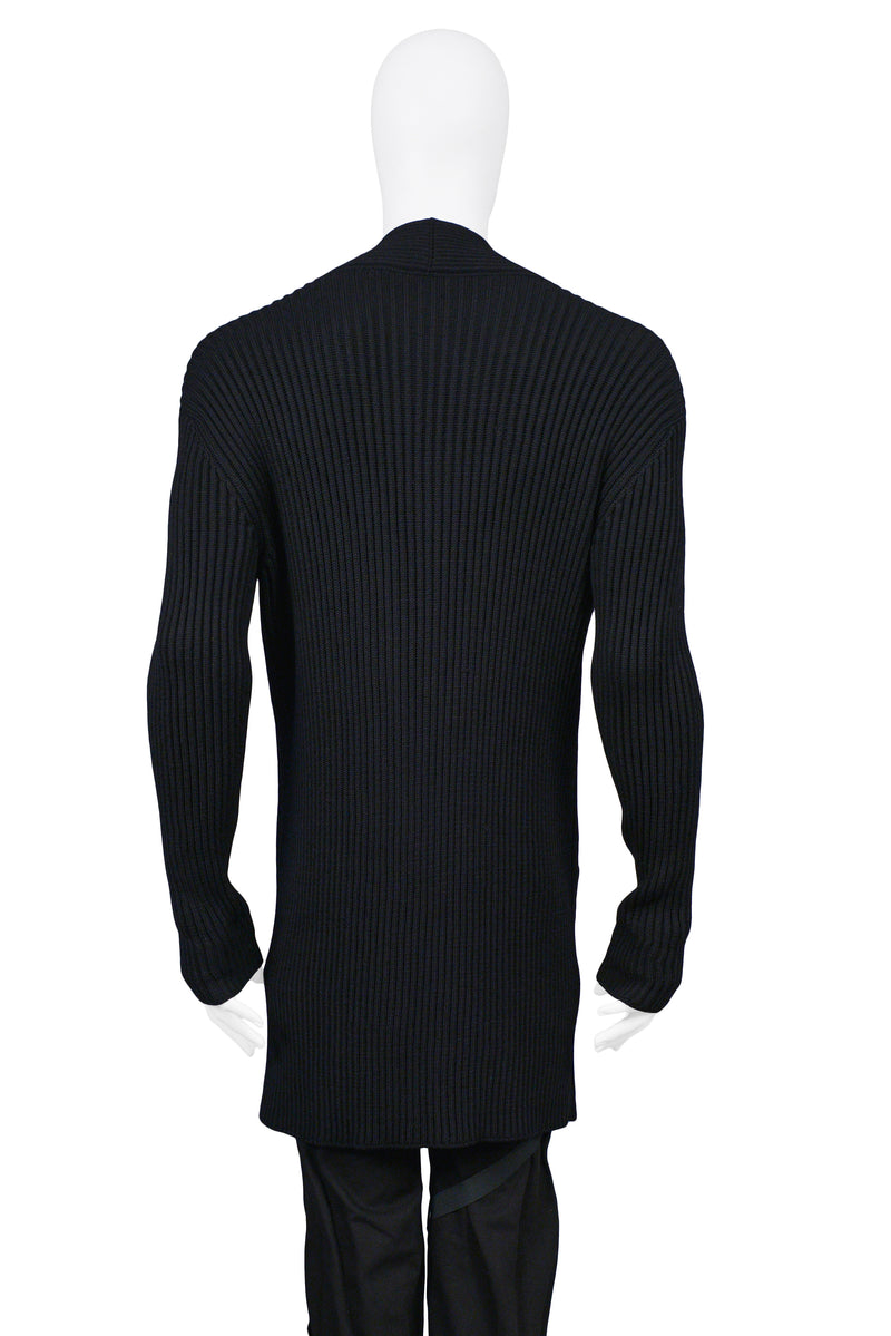 HELMUT LANG EXTRA LONG BLACK KNIT CARDIGAN SWEATER