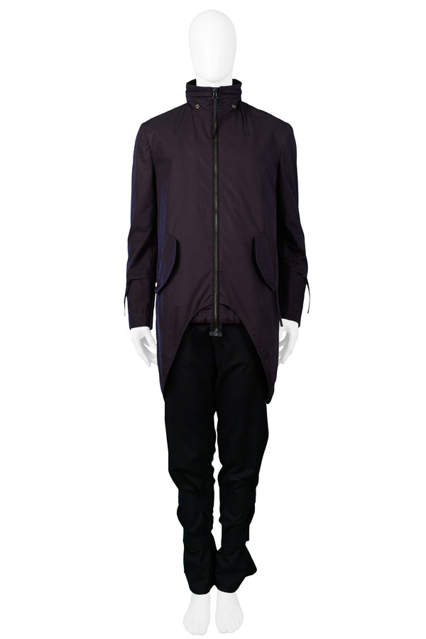 HELMUT LANG NAVY HOODED PARKA WITH HIP COVERS