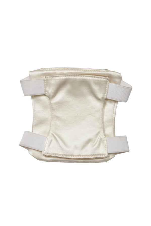 HELMUT LANG OFF WHITE SATIN ARMBAND WITH ZIPPER POCKET