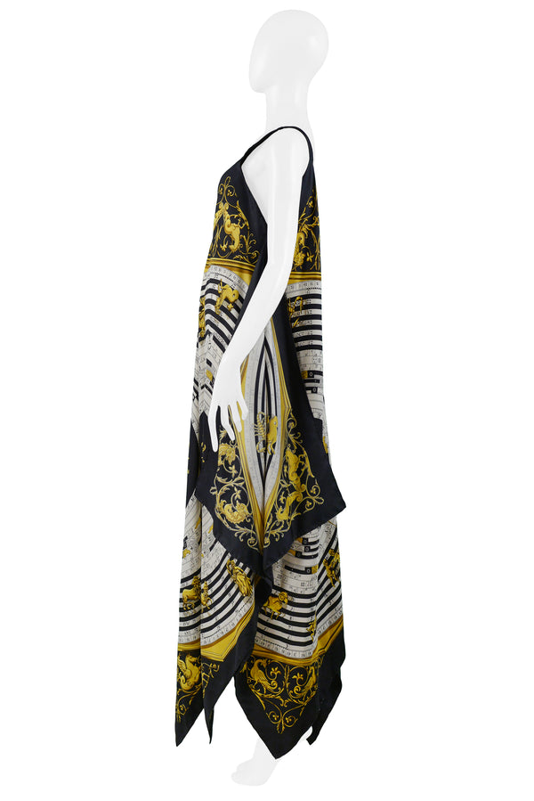 HERMES GOLD ZODIAC PRINT SCARF DRESS