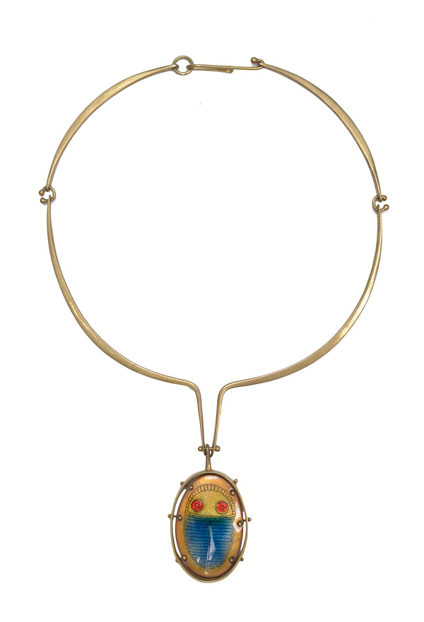 JACK BOYD BRASS & ENAMEL SCARAB COLLAR NECKLACE