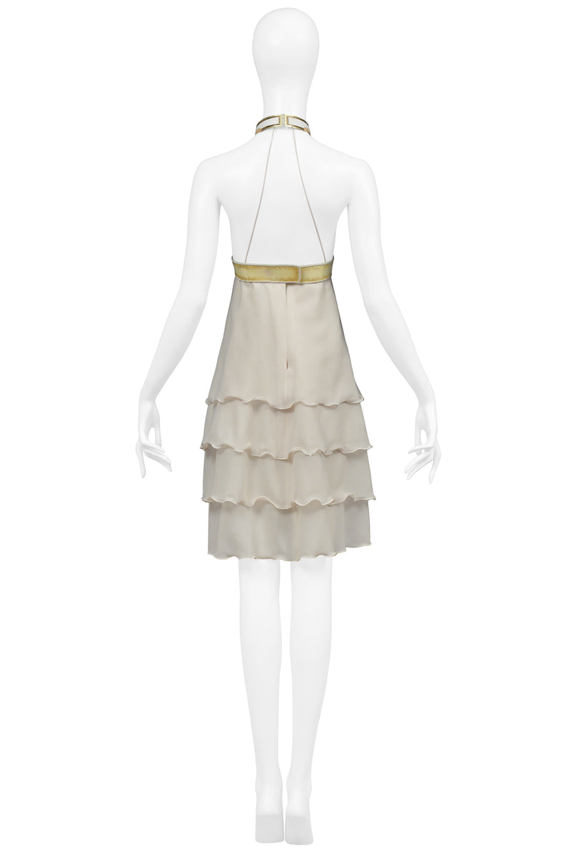 JACQUES CASSIA OFF WHITE VINYL COLLAR DRESS