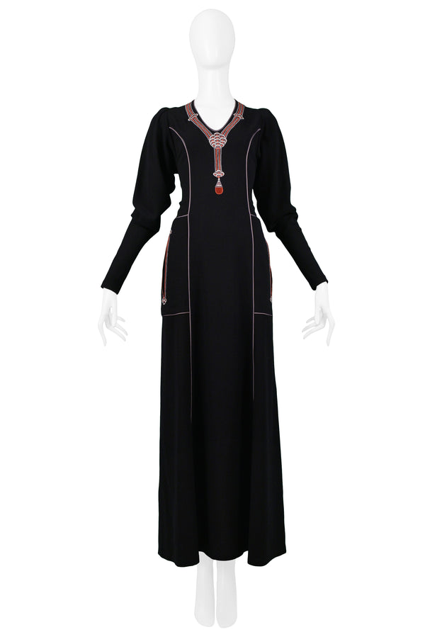 JANICE WAINWRIGHT BLACK EMBROIDERED ART DECO MAXI GOWN