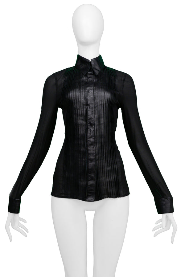 JITROIS BLACK LEATHER AND SHEER TUXEDO SHIRT