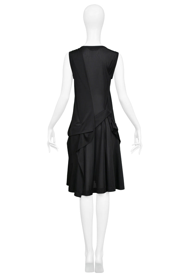 JUNYA BLACK NYLON PLEAT TANK DRESS 1996