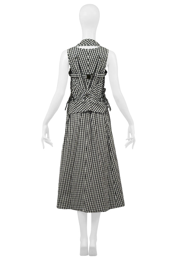 JUNYA BLACK & WHITE GINGHAM PARACHUTE DRESS 2003