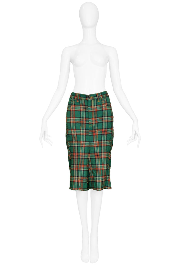 JUNYA GREEN PLAID SHORTS 2004