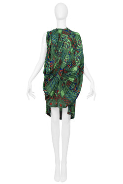 JUNYA 2009 SS GREEN AFRICAN PRINT DRESS