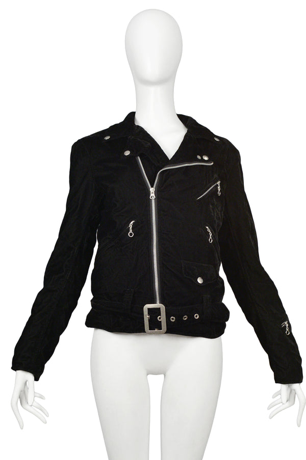 JUNYA BLACK VELVET MOTORCYCLE JACKET