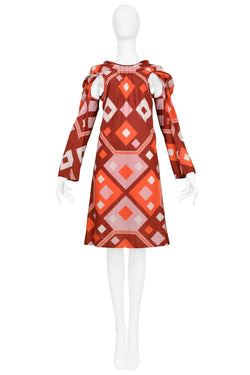 JUNYA ART DECO PRINT DRESS WITH CUTOUTS 2003