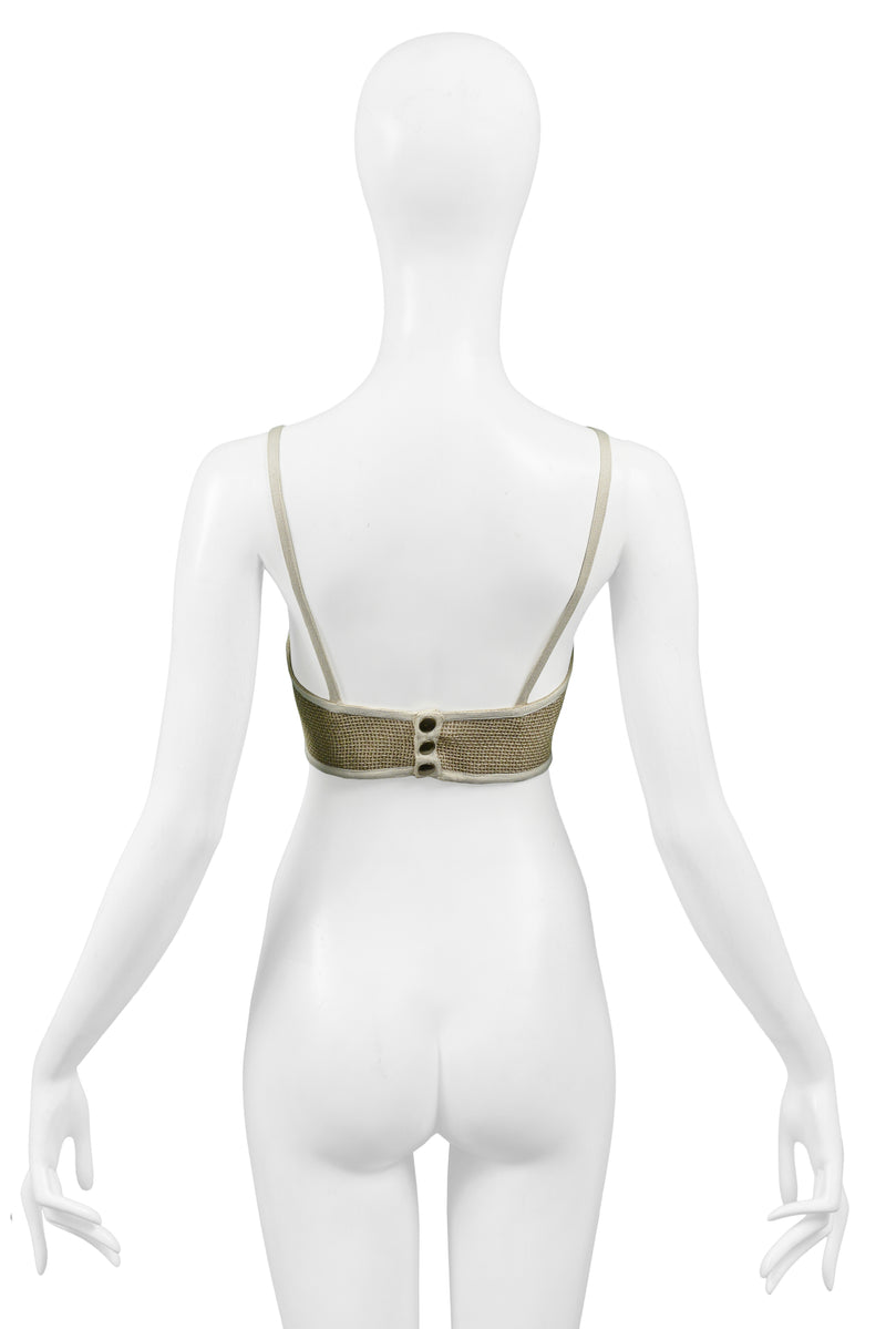 KRIZIA NATURAL LINEN BUSTIER TOP