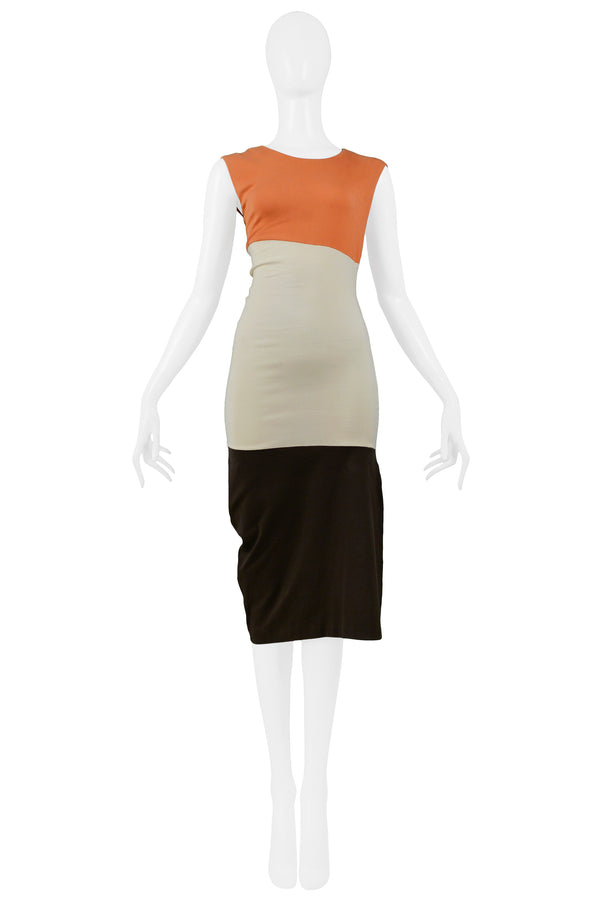 HELMUT LANG CORAL IVORY & BROWN COLOR BLOCK KNIT DRESS 1990