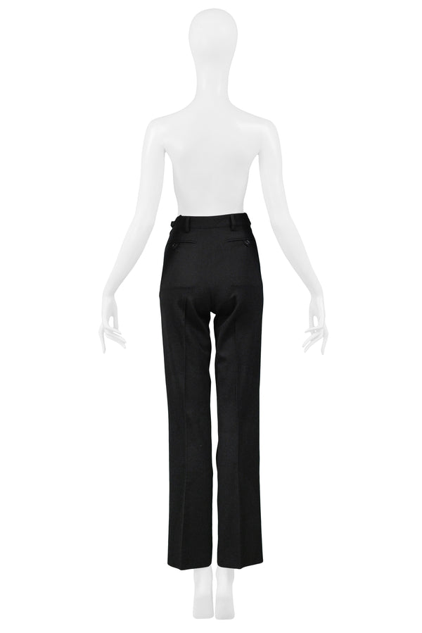 HELMUT LANG BLACK PANTS WITH ATTACHED WAIST BAG 1999
