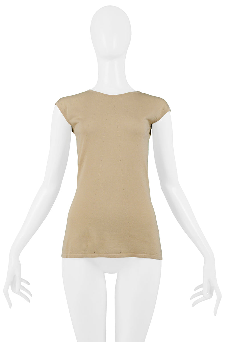 HELMUT LANG PALE ROSE KNIT POINTELLE CAP SLEEVE TOP 2001