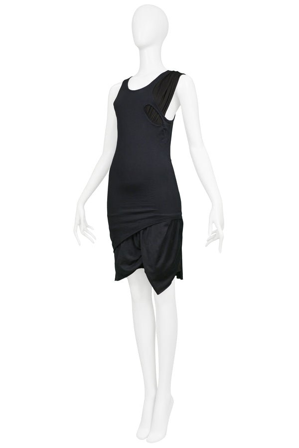 HELMUT LANG BLACK DECONSTRUCTED TANK DRESS