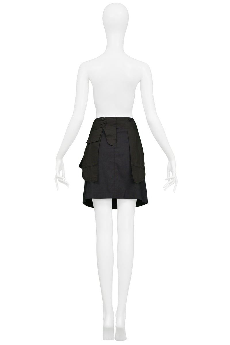 HELMUT LANG BLACK INSIDE OUT COTTON SKIRT