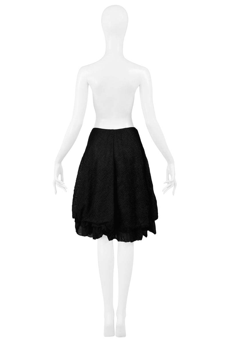 HELMUT LANG 1989 BLACK PLISSE LAYERED SKIRT 1989