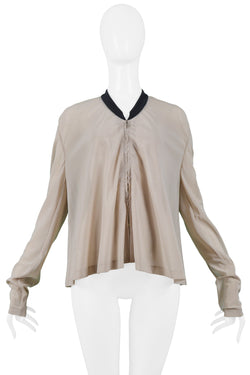 HELMUT LANG NUDE MESH JACKET WITH BLACK TRIM