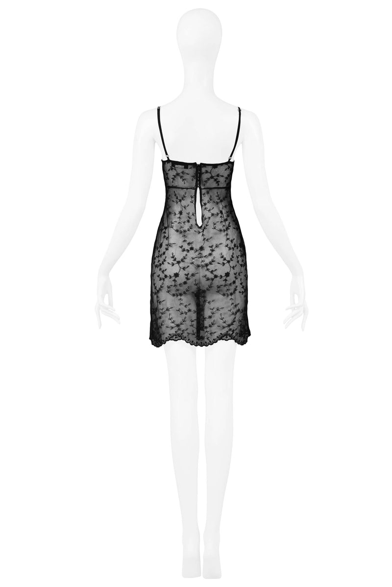 LOLITA LEMPICKA  EMBROIDERED BLACK LACE SLIP DRESS 1994