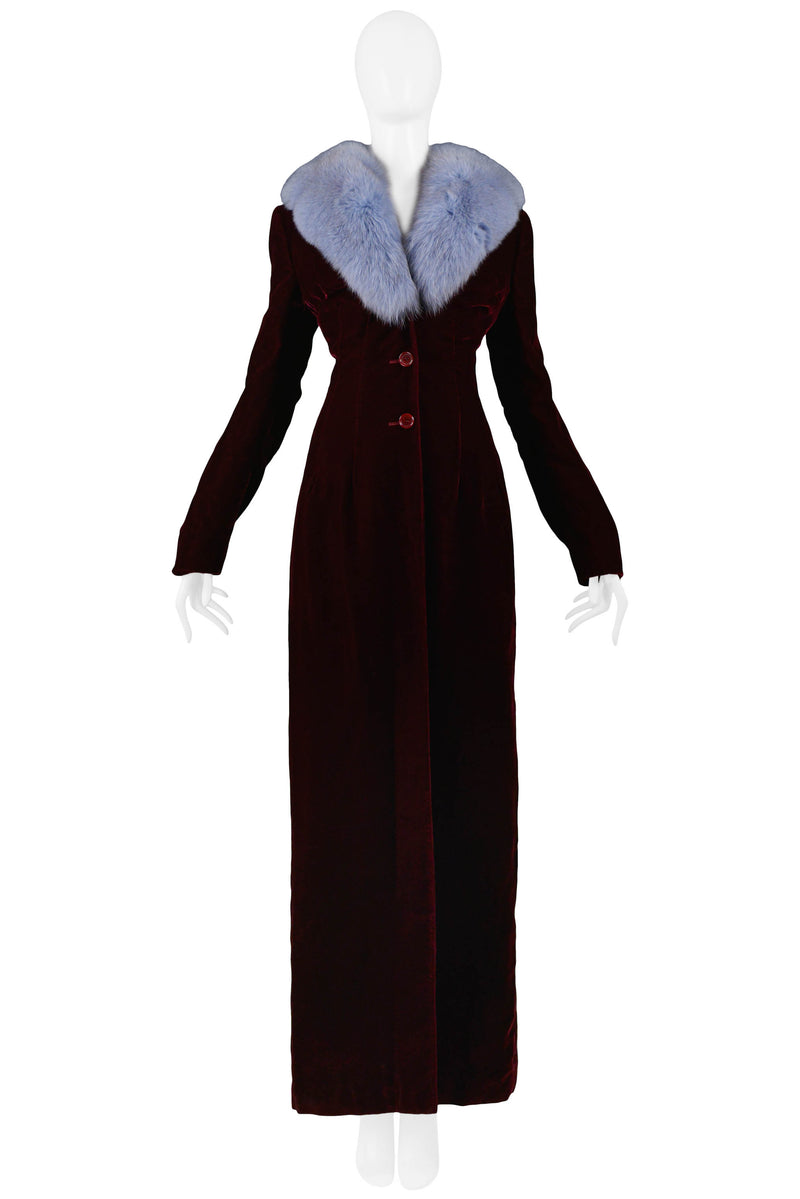 DOLCE 1997 BURGUNDY VELVET COAT WITH BLUE FUR COLLAR