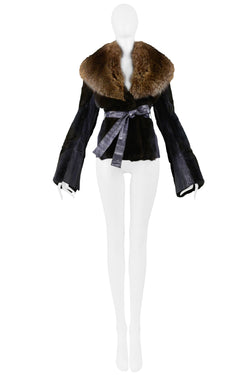 DOLCE BROWN MINK FUR JACKET WITH FUR COLLAR 2004