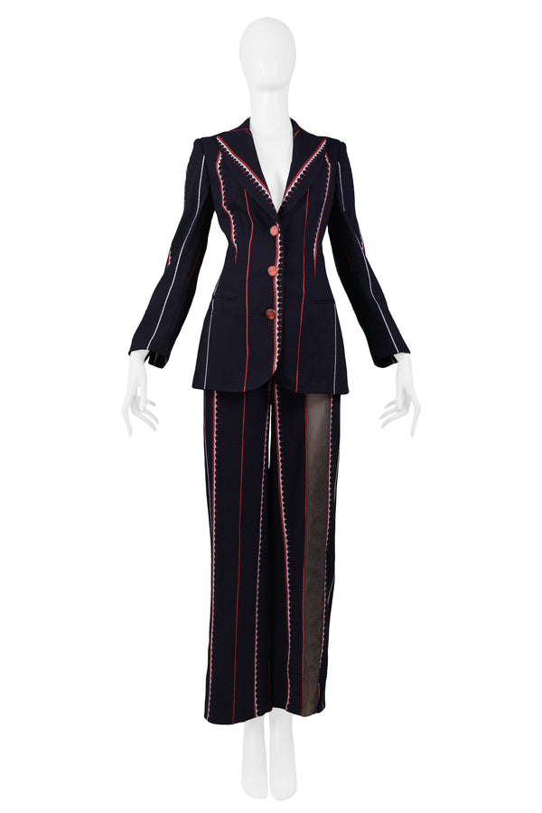 FERRE BLACK, RED, & WHITE PINSTRIPE SUIT WITH SHEER PANELS