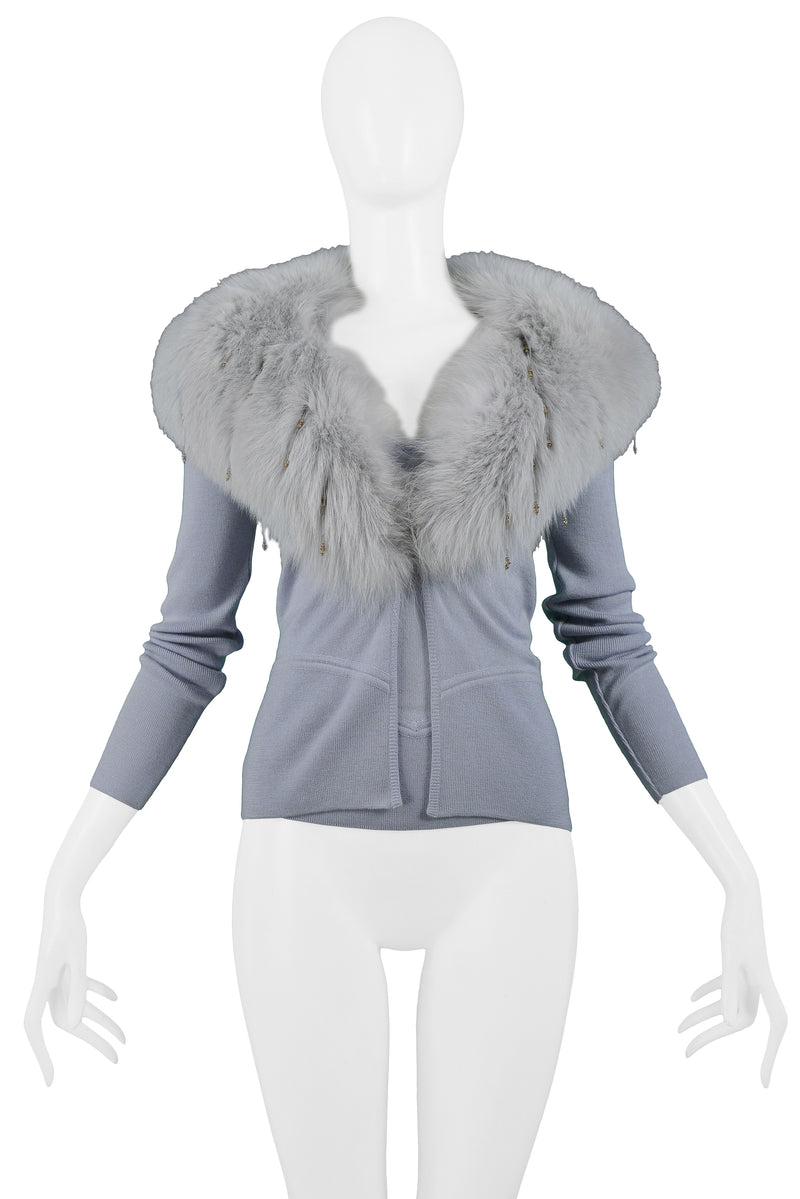 VERSACE POWDER BLUE CARDIGAN WITH MATCHING CAMISOLE