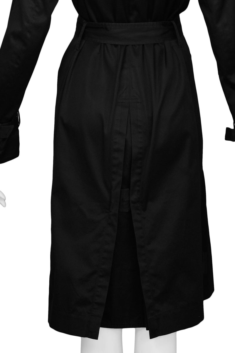 MARGIELA BLACK COTTON TRENCH COAT WITH BELT