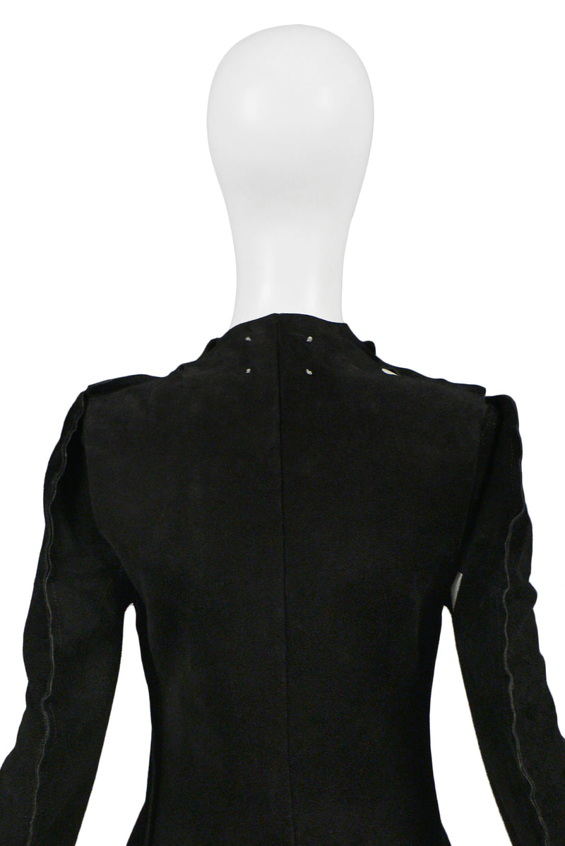 "MARGIELA ""FLAT PATTERN"" COLLECTION BLACK SUEDE JACKET 1998"