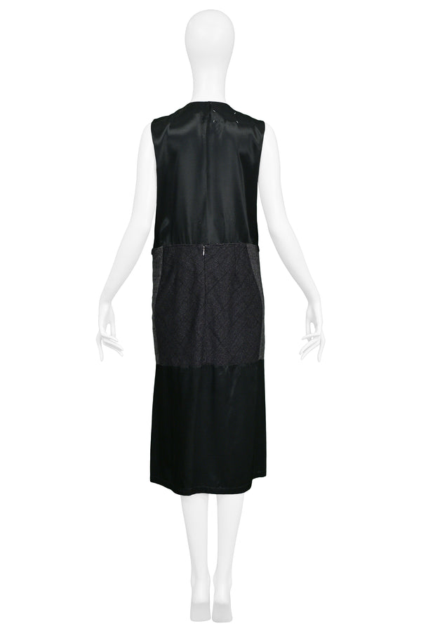 MARGIELA ARTISANAL SATIN & WOOL PANEL DRESS 2002