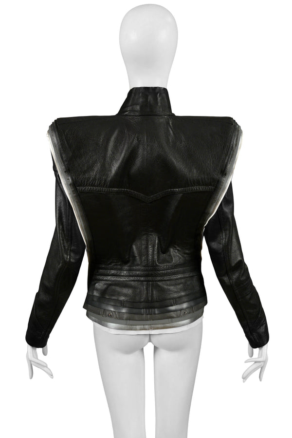 MARGIELA ARTISANAL LEATHER LAYERED JACKET WITH DETACHABLE SLEEVES 2008
