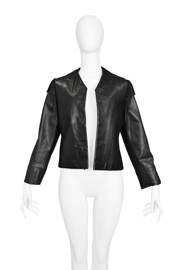 MARGIELA BLACK LEATHER FRINGE WESTERN JACKET