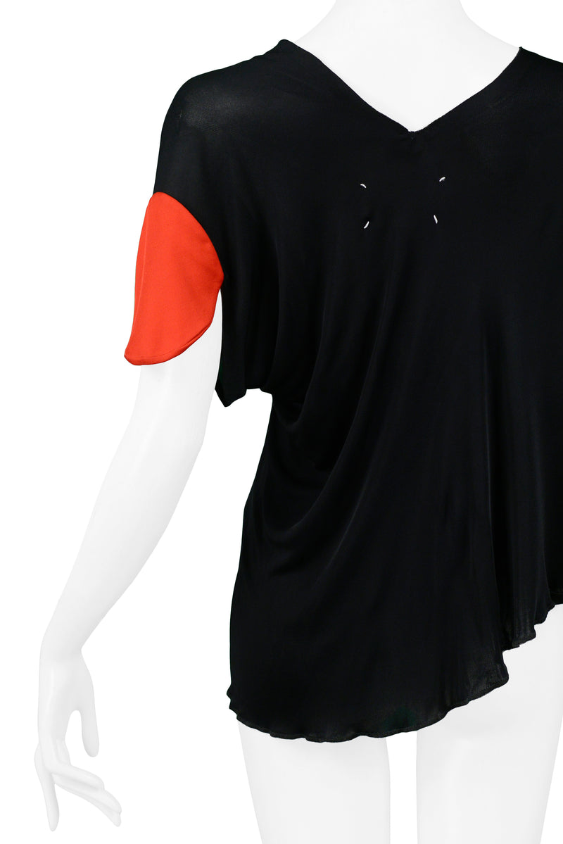 MARGIELA BLACK & RED TARGET SLEEVE TOP