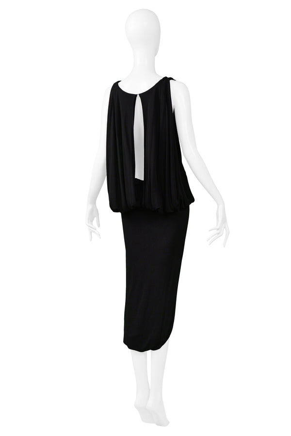 MARGIELA BLACK SLIT BACK DRESS