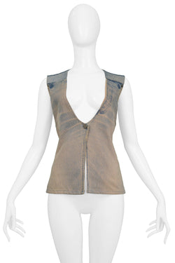 MARGIELA BLEACH WASH DENIM VEST
