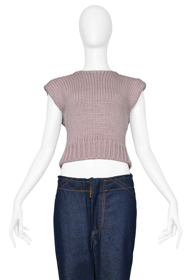 MARGIELA PINK MAUVE KNIT DOLL COLLECTION SWEATER VEST
