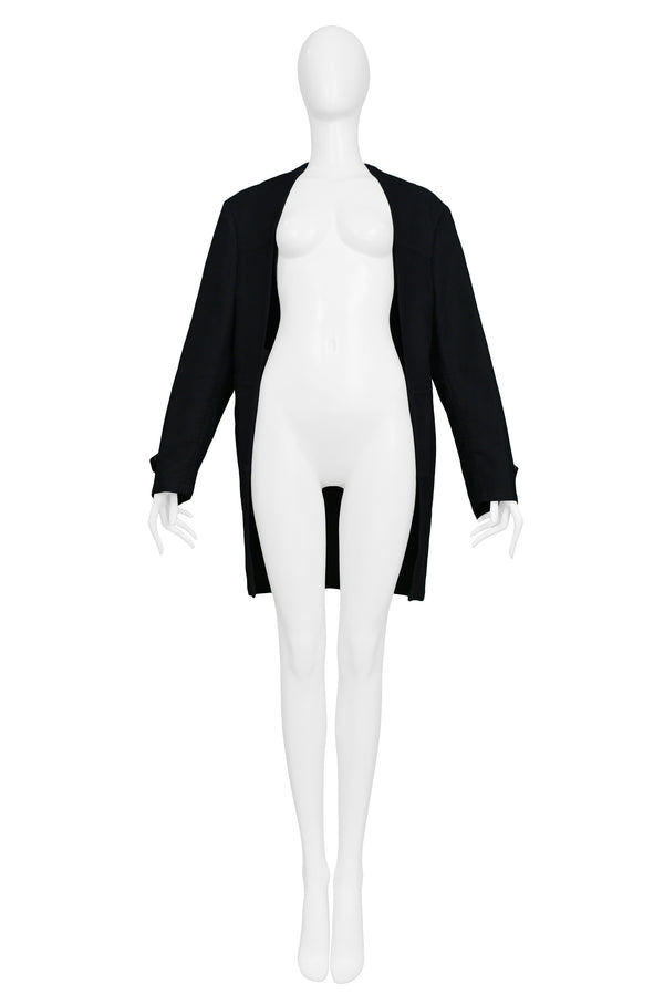 MARGIELA NAVY & BLACK FLAT FRONT OPEN JACKET