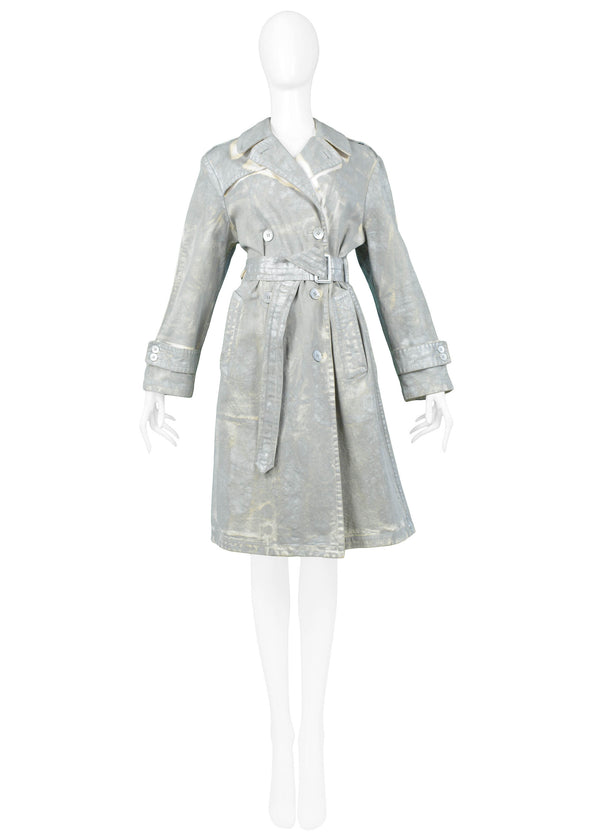 MARGIELA SILVER OVER PAINTED COTTON TRENCH