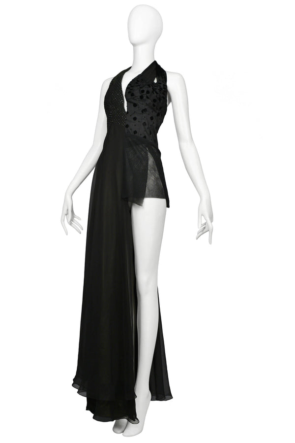 MARGIELA BLACK ASYMMETRICAL EVENING GOWN