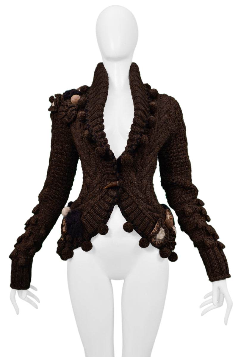 MCQUEEN BROWN FANCY CARDIGAN SWEATER 2005