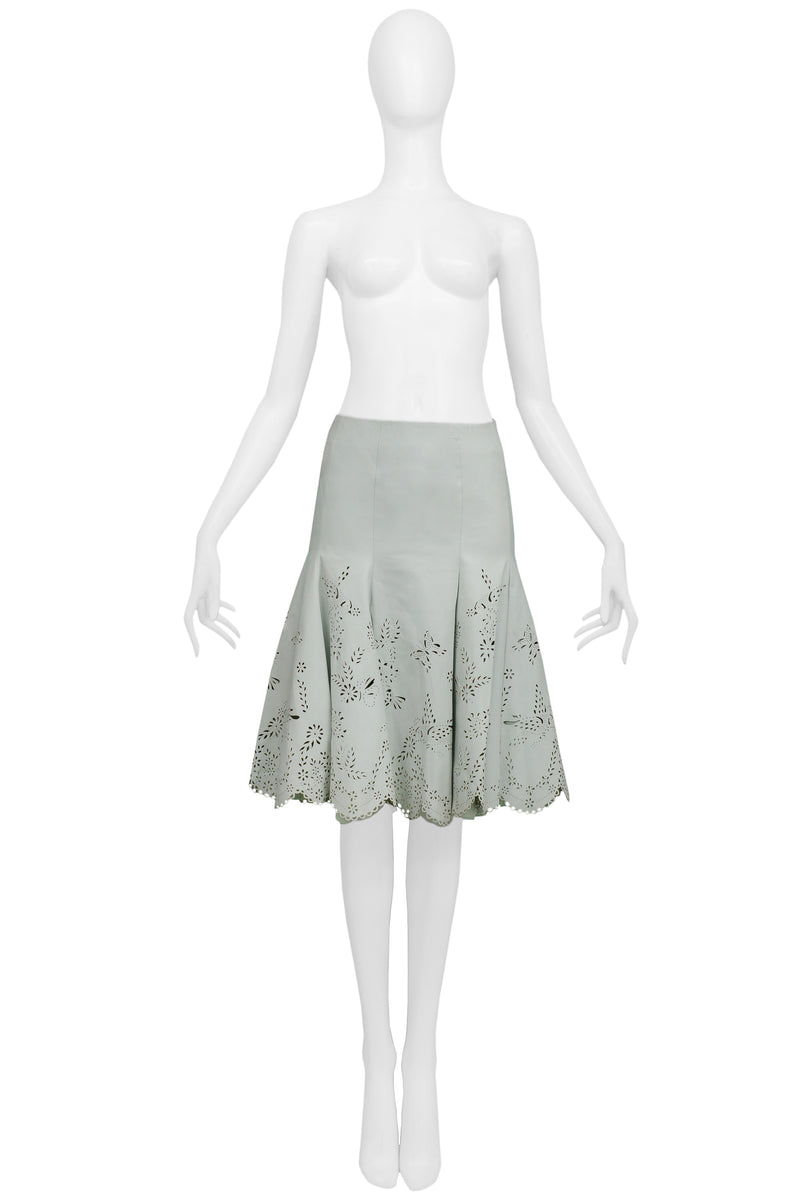 MCQUEEN LASER CUT MINT LEATHER SKIRT 2005