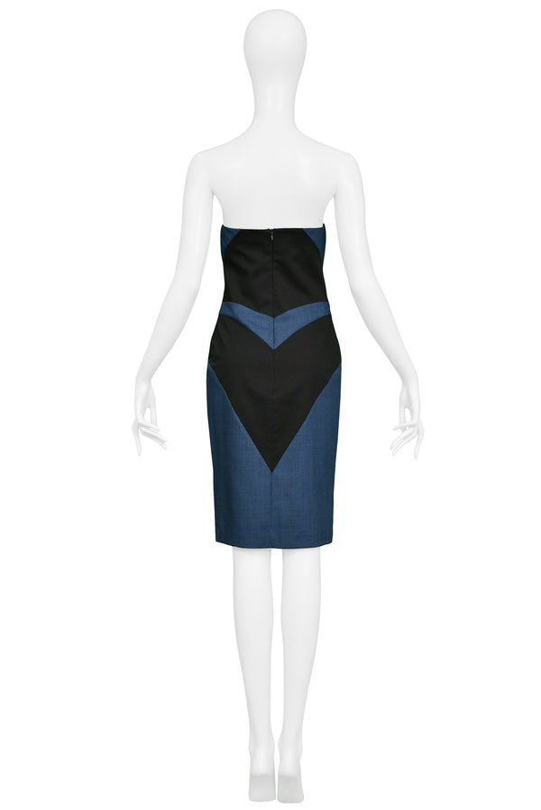 ALEXANDER MCQUEEN FLAG PANEL STRAPLESS DRESS 1998