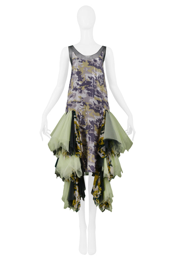 ALEXANDER MCQUEEN GREEN CAMO SEQUIN EMBELLISHED GOWN AW 2001