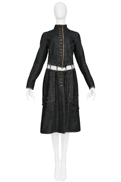 "ALEXANDER MCQUEEN BLACK DENIM ""IRERE"" COAT WITH LACES 2003"