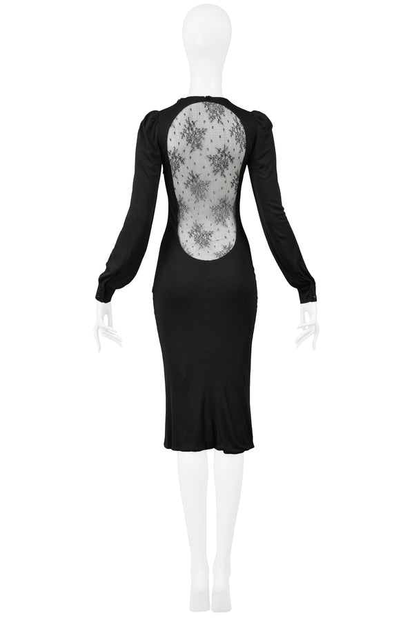 "ALEXANDER MCQUEEN BLACK LACE BACK ""HITCHCOCK"" DRESS 2005"