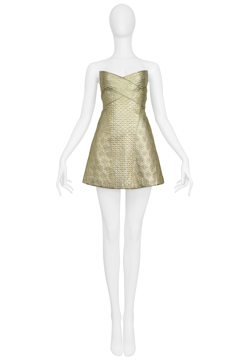 MCQUEEN GOLD LEATHER ARMOR DRESS 2007