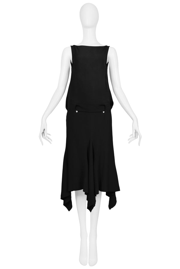 ALEXANDER MCQUEEN BLACK JERSEY OPEN BACK DRESS 2001