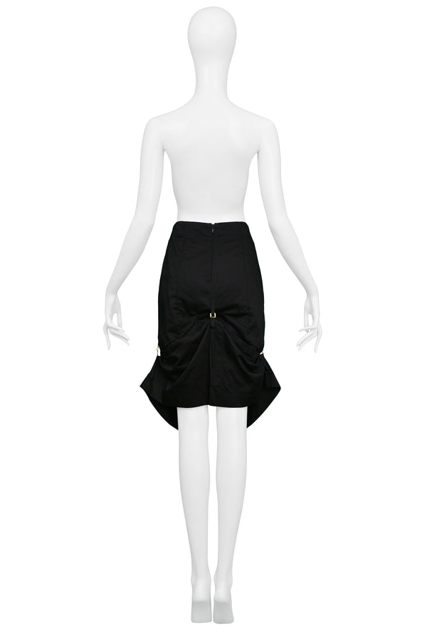 ALEXANDER MCQUEEN BLACK PENCIL SKIRT WITH GOLD HARDWARE