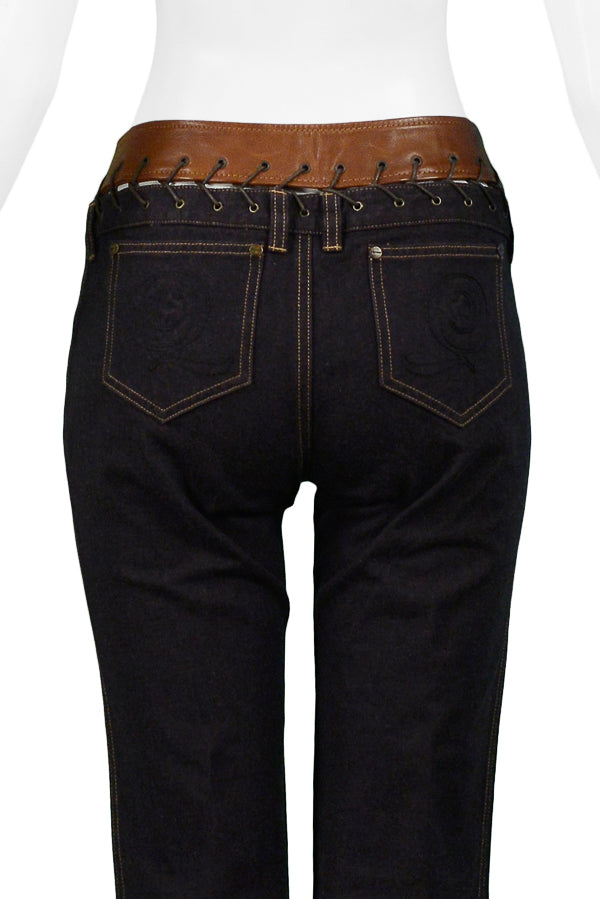 ALEXANDER MCQUEEN DENIM & BROWN LEATHER TRIM JEANS